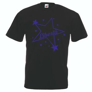 T-shirt in cotone con scritta blu uomo