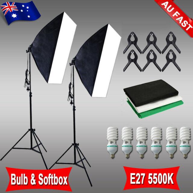 135W Bulb Photography Studio Softbox Continuous Lighting Soft Box Light Stand AU