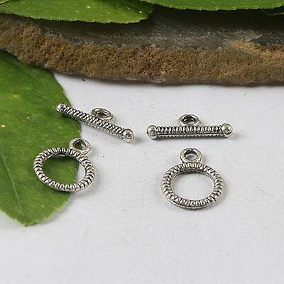 40pcs Tibetan Silver Round Toggle Clasp H0545