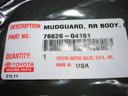 Toyota Tacoma PreRunner Left Rear Mud Guard Flap Genuine OE