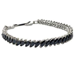 White gold finish Tennis Bracelet marquise cut black onyx gift boxed free post