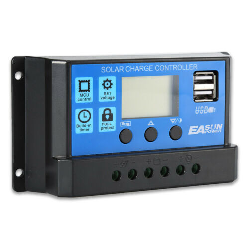 24V 12V Solar Charge Controller 30A 20A 10A PWM Solar Battery Charger LCD USB