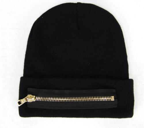 Mitchell /& Ness Gold Zip Black Acrylic Beanie Hat TND010 BRA//BLK UW40