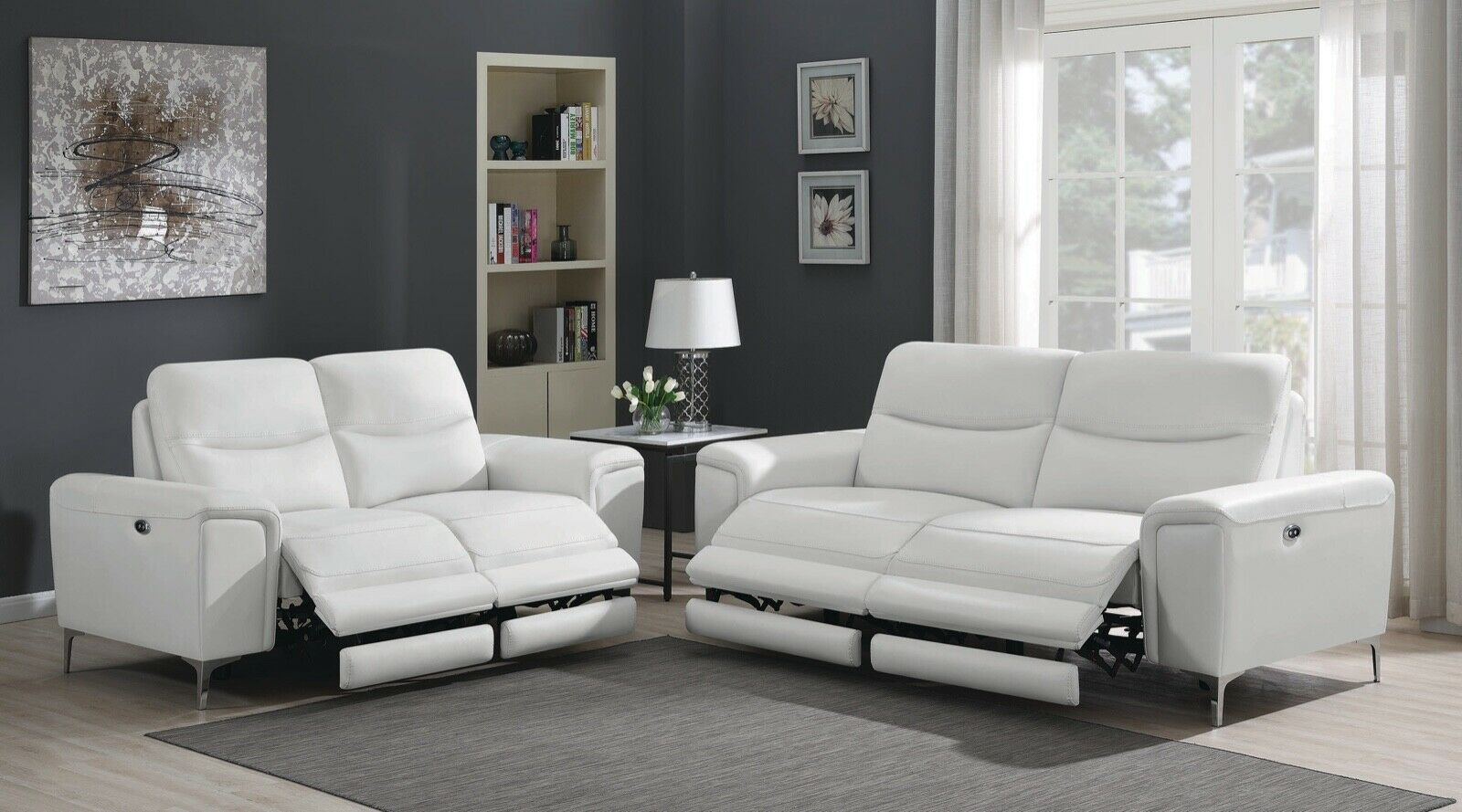 Top Grain White Leather Match Power Reclining Sofa Loveseat Livingroom Furniture