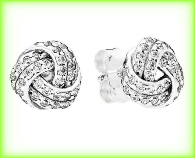 2a4c99ca94f6b PANDORA Sparkling Love Knots Silver Stud Earrings 290696CZ