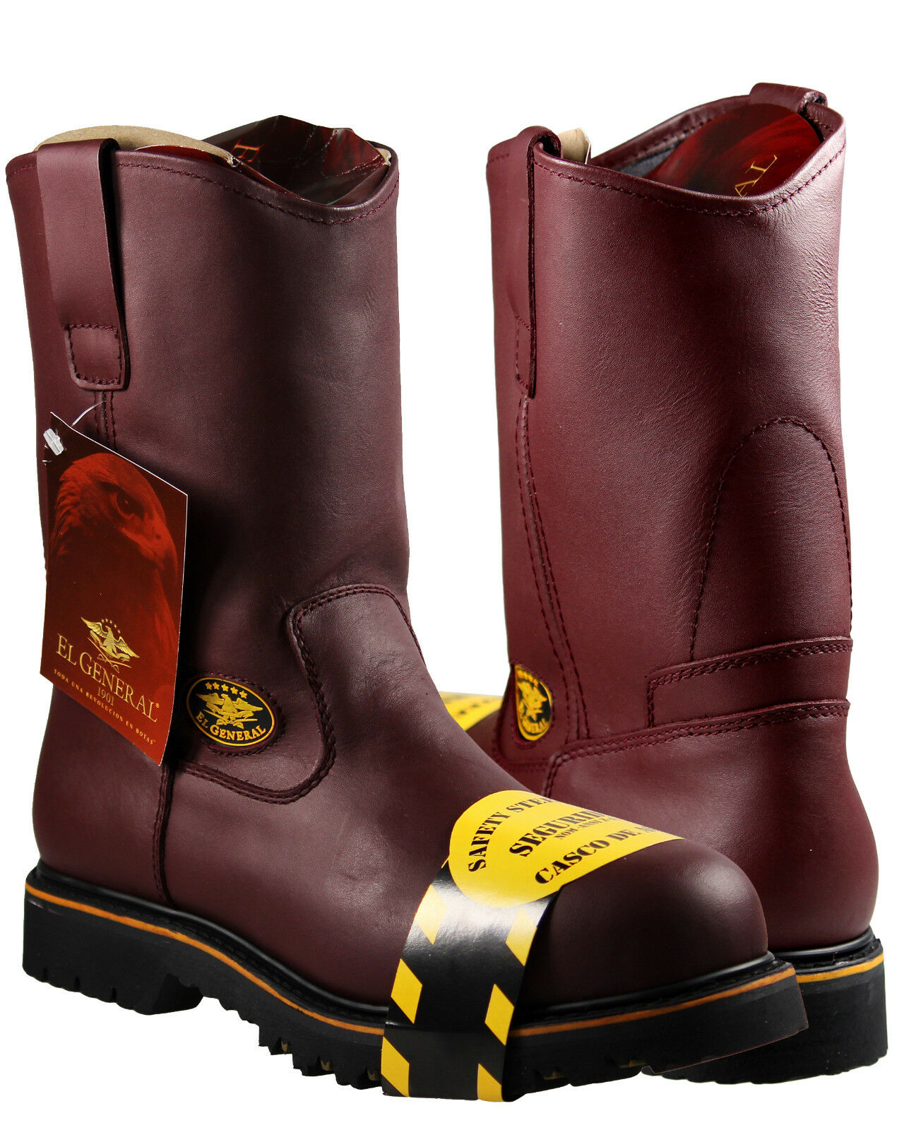 Cuero para Hombre botas De Trabajo Puntera De Acero Color Vino El General