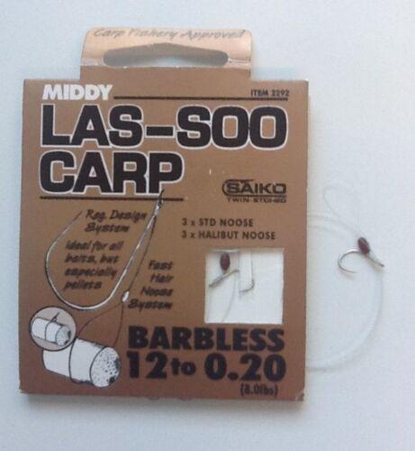 MIDDY LAS-SOO CARP BARBLESS HOOKS 6 PRE TIED HAIR NOOSE RIGS
