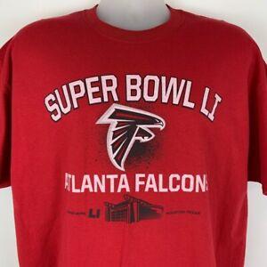 New Atlanta Falcons Super Bowl LI X-Large XL T Shirt NFL Red Cotton Football Tee