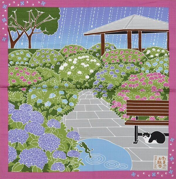 Japanese 12 Seasons in Kyoto Tama The Cat Furoshiki Scarf 'Ajisai' Hydrangeas
