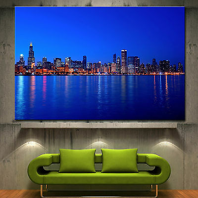 Chicago Skyline Canvas Print Home Fine Wall Art Prints Colorful Picture 2