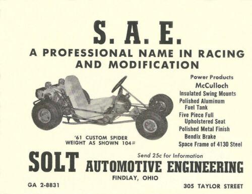 Vintage and Rare 1961 S.A.E Custom Spider Go-Kart Ad