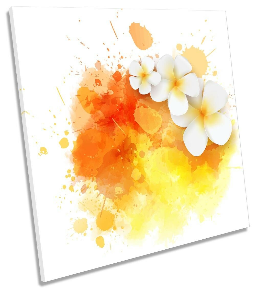Weiß Orange Floral Flowers CANVAS WALL ARTWORK Square Art Print