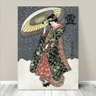 "Beautiful Japanese GEISHA Art ~ CANVAS PRINT 16x12"" In the Snow"