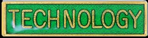 Technology School Subject Bar Pin Badge in Green Enamel