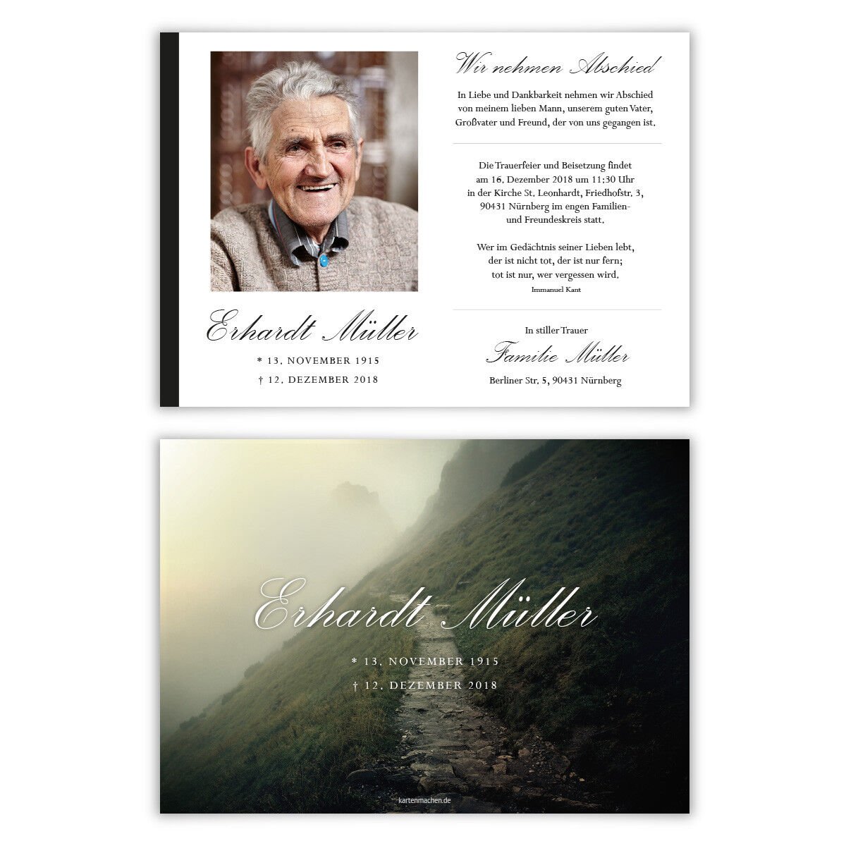 Trauerkarten individuell Trauer Todesfall Beerdigung Karten - Steiniger Weg