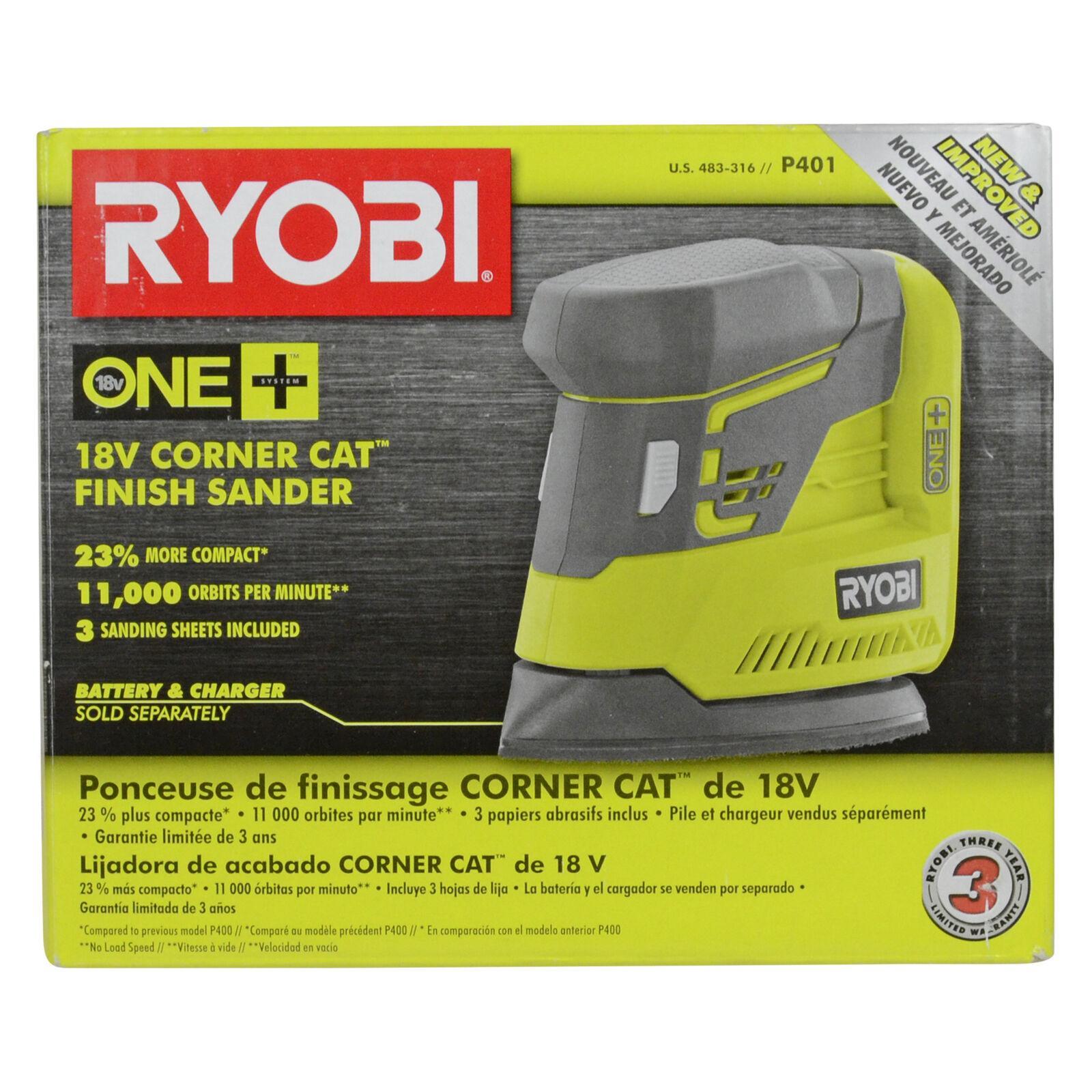 Ryobi P401 18V One+ Lithium Ion Corner Cat Finish Sander uses P102 P104 P107