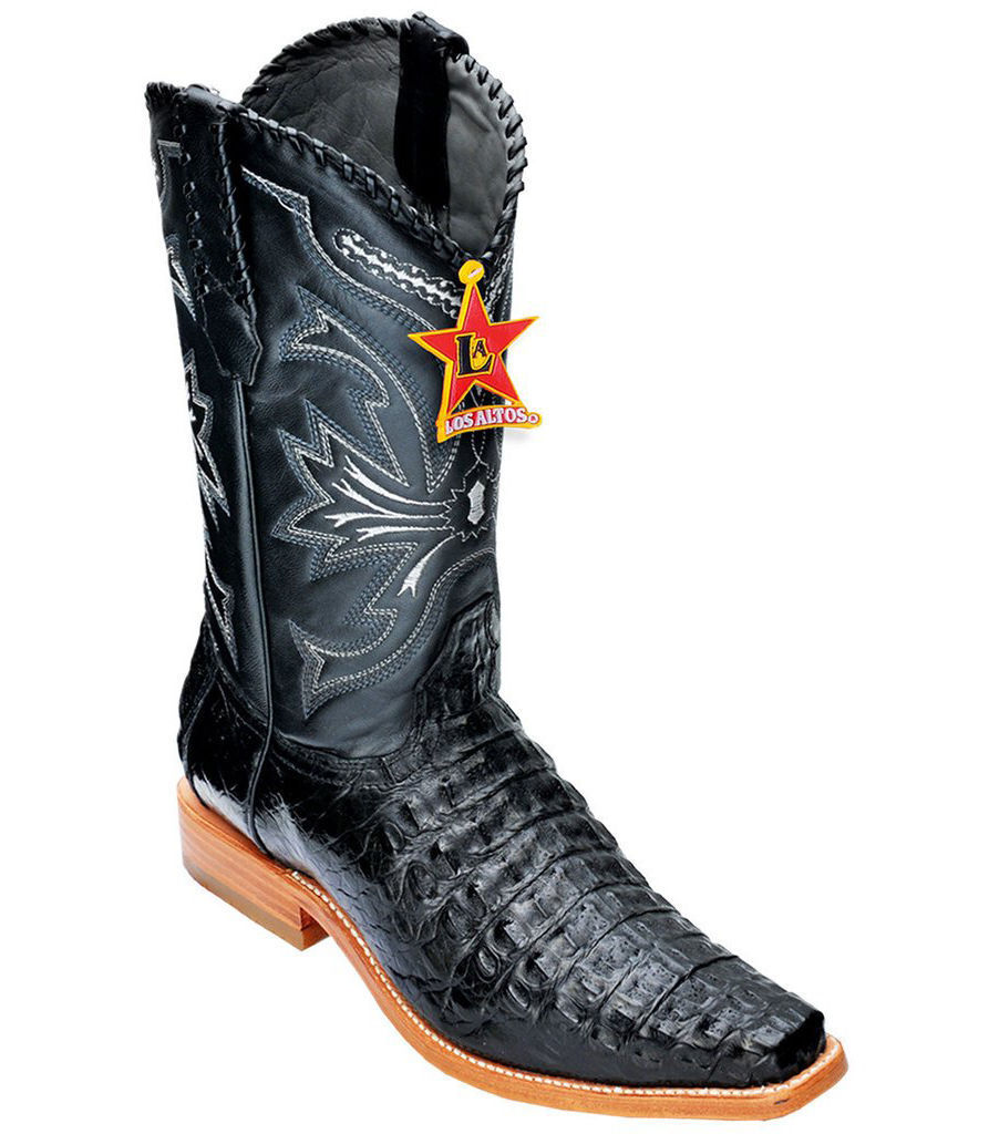 33949cc5bf3 WESTERN CROCODILE CAIMAN GENUINE BLACK ALTOS LOS VERSAGE SQUARE EE ...