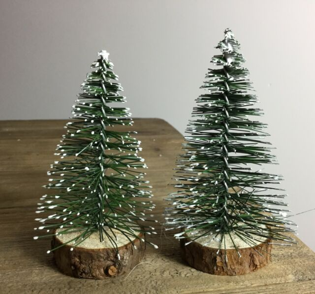 Bristle Snow Pine Christmas Tree Gisela Graham Decoration Cake Topper Table - Gisela Graham Set Of 2 Frosted Pine Mini Fir Christmas Tree Standing