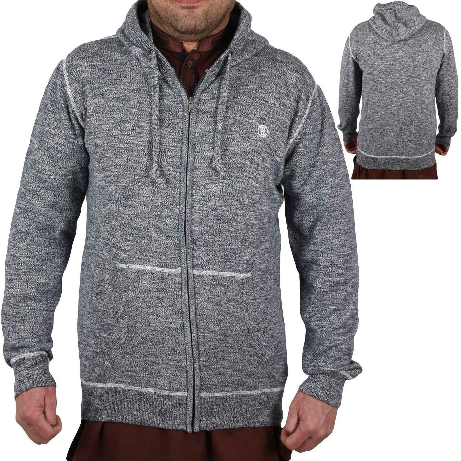 Mens Zip Up Hooded Sweatshirt Casual Outwear Plain Hoodie Jacket Coat Jumper Top