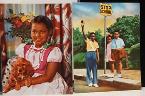 Black Americana VTG Set 2 African American AA Calendar Photo Insert 1950s Kids