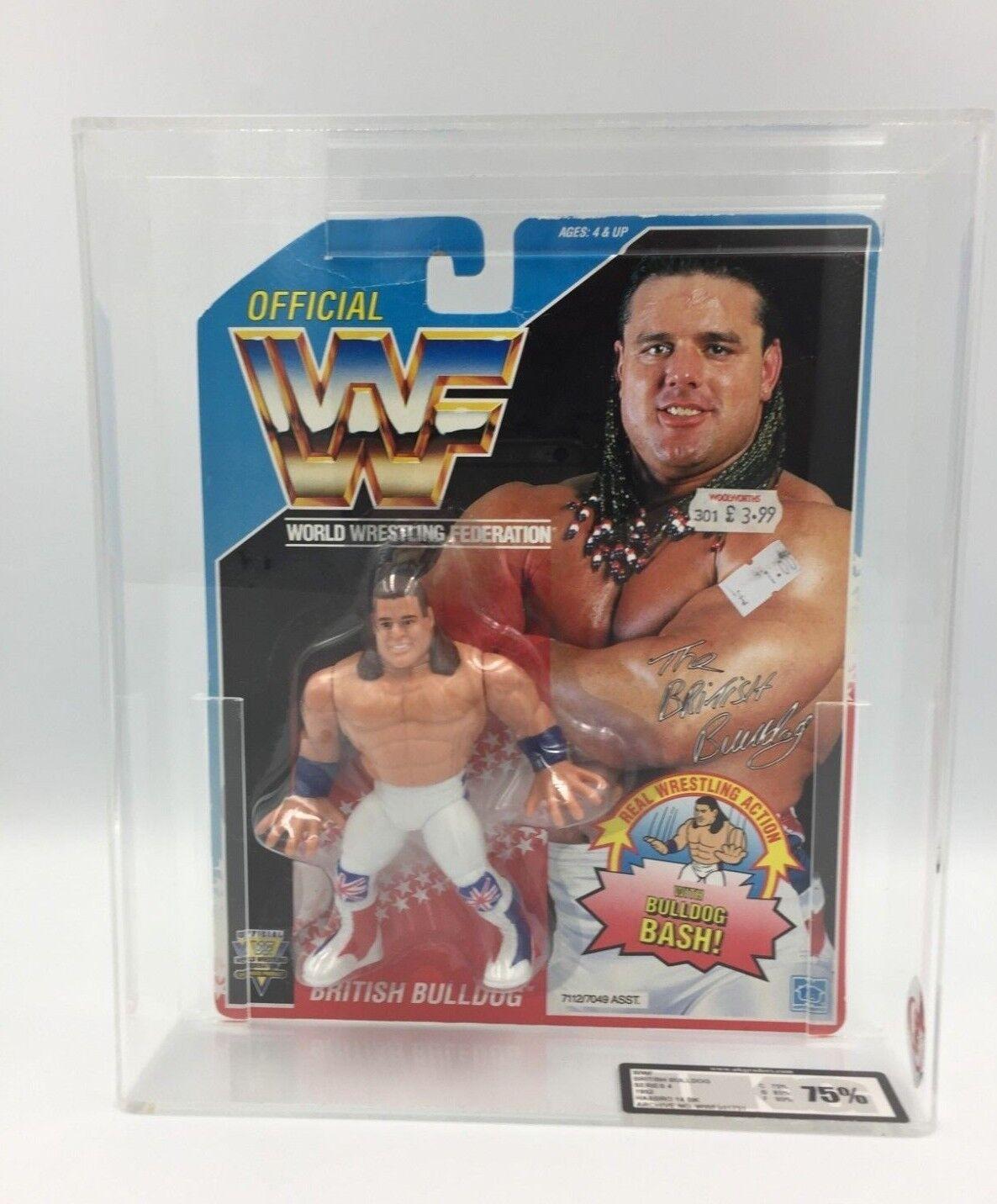 WWF Hasbro BRITISH BULLDOG 14BK 1992 Carded Figure-UKG not AFA graded - RARE