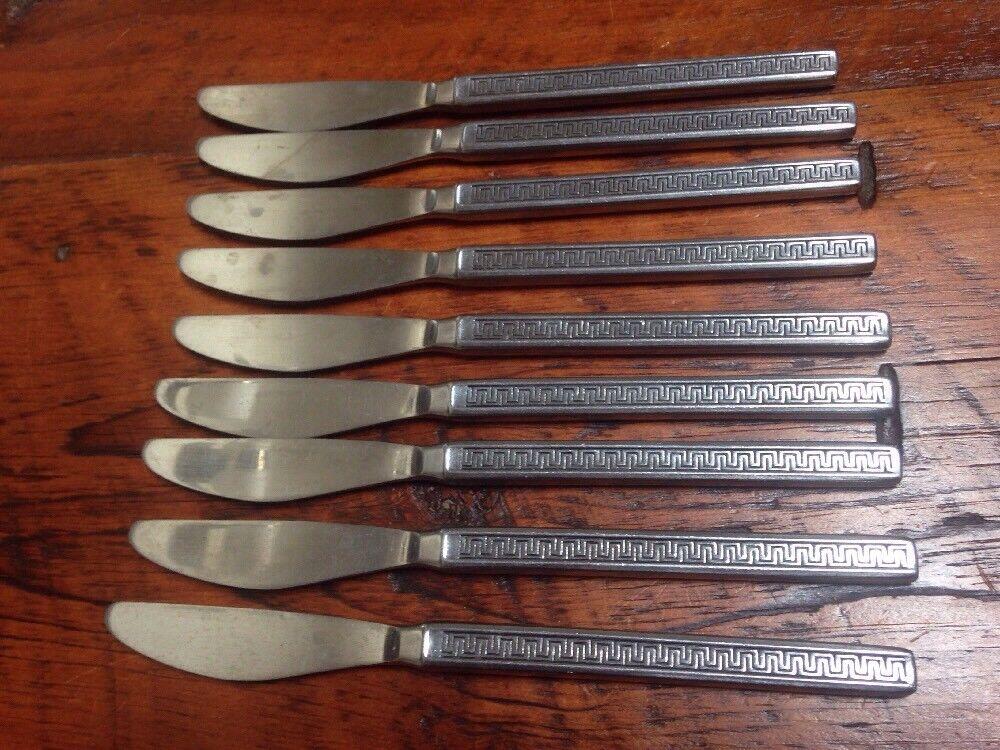 Lot Set of 9 Noritake Eros Mid Century Modern Stainless Butter Dinner Knives 8