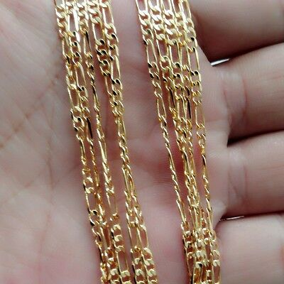"""Men Jewelry 18K Yellow Gold Filled Figaro 2MM  Chain Necklaces 16""""-30"""""""