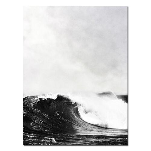 Ocean Sea Waves Canvas Poster Black White Seascape Wall Art Prints Nordic Decor