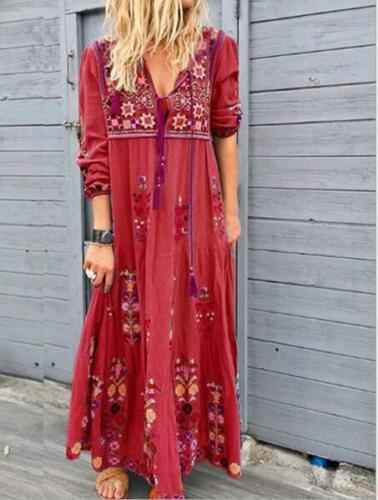 Womens Fashion Floral Print V Neck Drawstring  Long Sleeve Boho Long Dress SKGB