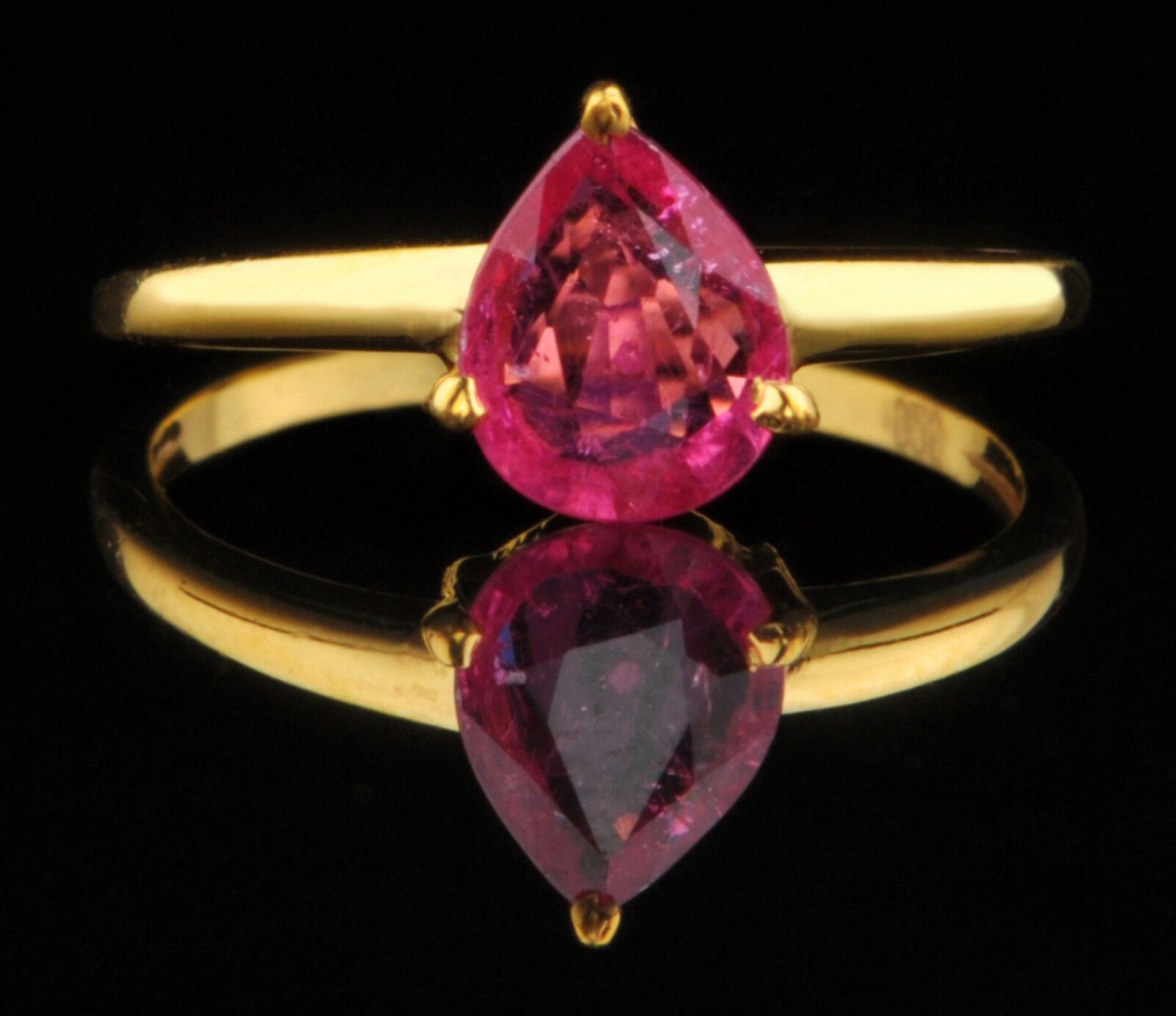 1.20Ct Pear Shape Natural Pink Tourmaline Real 14KT Yellow gold Solitaire Ring