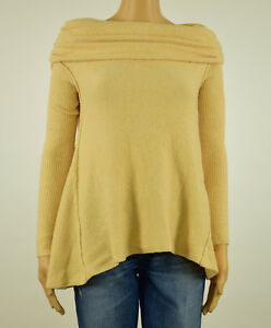 2622ede9ab Image is loading Free-People-Womens-Beige-Boucle-Cowl-Neck-Pullover-