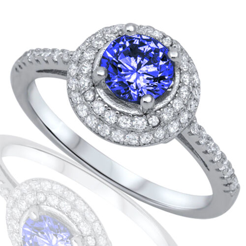 Two Layered Halo Brilliant Cut Blue Sapphire Wedding Engagement Silver Ring