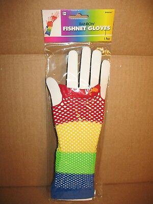 Ladies Rainbow Fingerless Satin Gloves Clown Carnival Pageant Fancy Dress