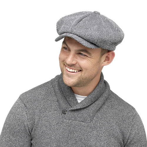 3M Thinsulate Cappello da Strillone Cap 8 Panel Herringbone Piatto Cappello Peaky Blinder UK Venditore