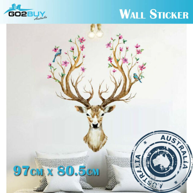 Wall Stickers Removable Sika Deer Living Room Decal Picture Art Wallpaper Flower