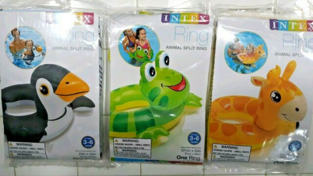 NEW INTEX  Animal Frog Giraffe Penguin Split Ring Swim Pool Float Tube Ages 3-6
