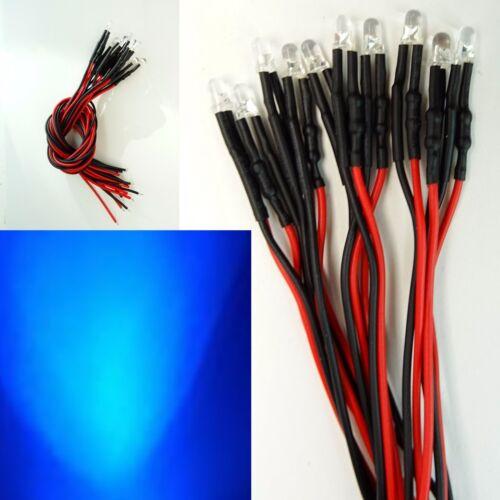10 Stück LED 3mm z.B als Hausbeleuchtung Blau 16-24V fertig Verkabelt C2991