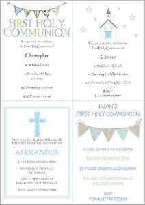 Image is loading 10-Personalised-Boys-First-1st-Holy-Communion-Invitations-
