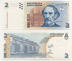 Argentina 2 Pesos 2012 UNC Banknotes P-352 L-serie Lot 10 PCS ND