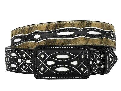 Mens Black Stingray Pattern Overlay Leather Western Cowboy Belt Rodeo Buckle