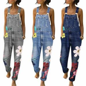 Womens-Denim-Jeans-Dungarees-Ladies-Flower-Jumpsuit-Bib-Pants-Trousers-Overalls