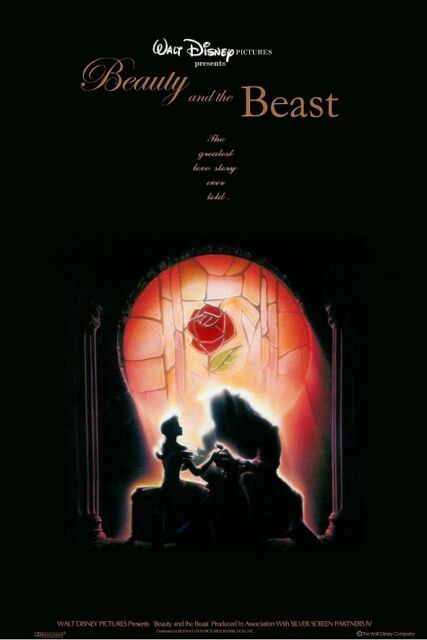 Walt Disney's BEAUTY and the BEAST movie poster  : 11 x 17 inches STAINED GLASS