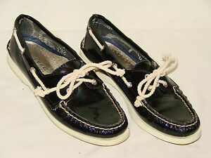 5eb96d4913e30 Sperry Womens 6 Black Patent Size Shoe Leather Boat Sider 5m Top rEzOr