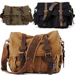 a3493e424c88 Vintage Men s Canvas Satchel School College Military Shoulder Bag ...