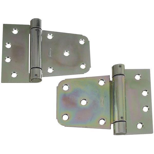 10 Pk Steel Zinc Plated 3 1 2  Heavy-Duty Gate Spring Hinge Set N342584