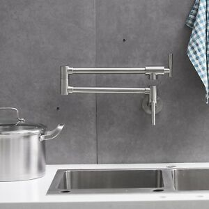 Details about Brushed Nickel Kitchen Pot Filler Faucet Folding Stretchable  Swing Arm Tap