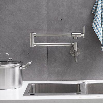 Brushed Nickel Kitchen Pot Filler Faucet Folding Stretchable Swing Arm Tap  739450459037 | eBay