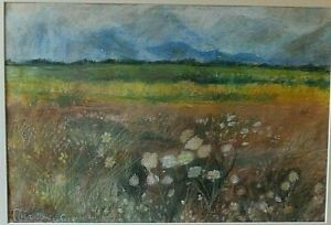Original Pastel painting  Landscape Scotland, Mountains Flowers by Thea Doniach