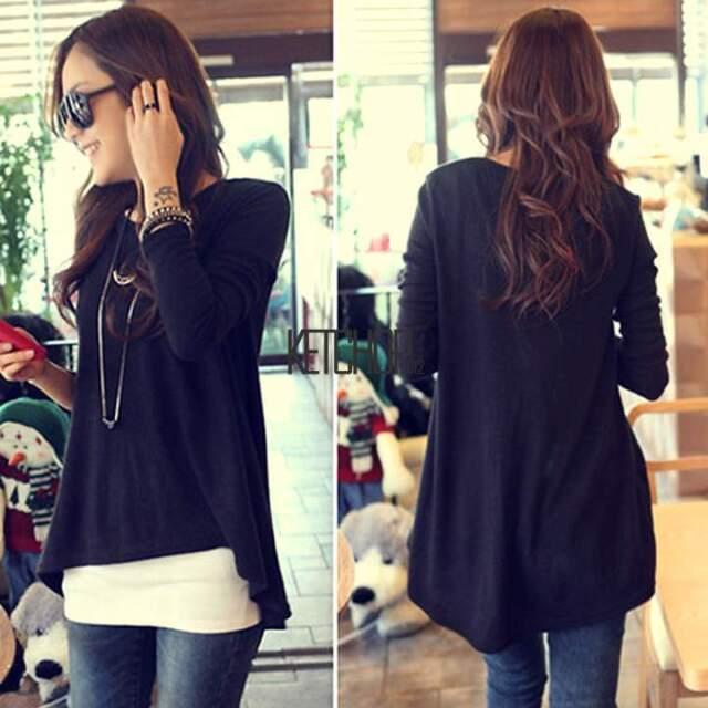 2015 Womens Ladies Batwing Long Sleeve Loose T-Shirt Blouse Top Casual Tops Tee