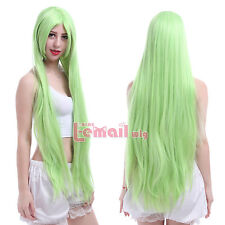 100cm Code Geass C.C CC Green Long Straight Womens Smooth Cosplay Wig ML25